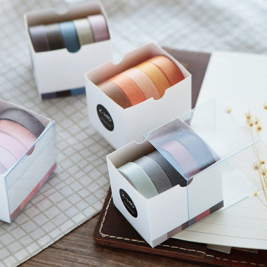 Pastel Color Gradient Washi Tape 5 Rolls Set