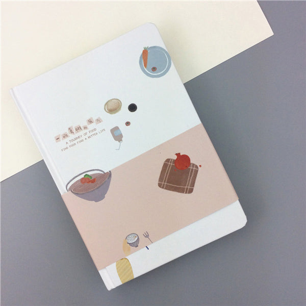 Pastel Color Illustration Thick Page Personal Journal Notebook, 🥙Food (Red)