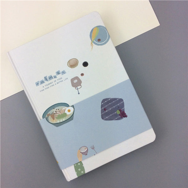 Pastel Color Illustration Thick Page Personal Journal Notebook, 🥙Food (Blue)