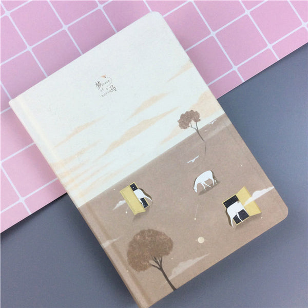 Pastel Color Illustration Thick Page Personal Journal Notebook, 🐴Horse (Brown)