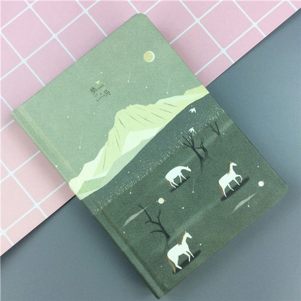Pastel Color Illustration Thick Page Personal Journal Notebook, 🐴Horse (Green)