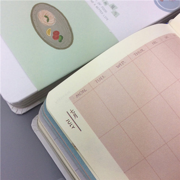 Pastel Color Illustration Thick Page Personal Journal Notebook