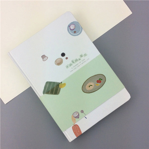 Pastel Color Illustration Thick Page Personal Journal Notebook, 🥙Food (Green)