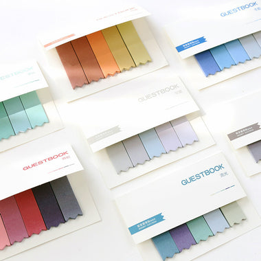 Pastel Gradient Bookmark Style Sticky Note Pads Set,8 Colors Set