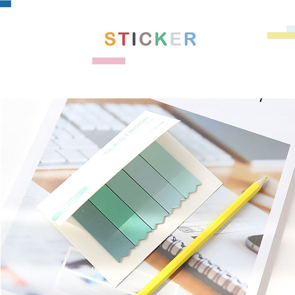 Pastel Gradient Bookmark Style Sticky Note 8 Pads Pack