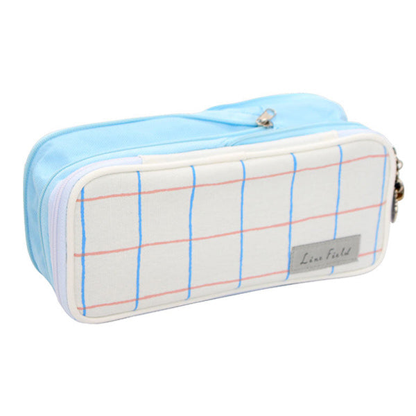 Pastel Zippered Large Foldable Pencil Case, Blue Grid