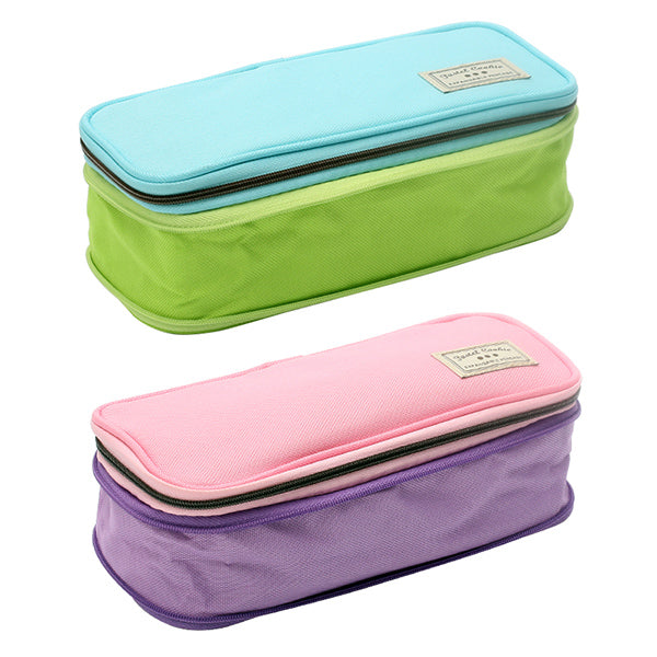 Pastel Zippered Large Foldable Pencil Case