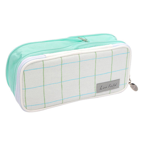 Pastel Zippered Large Foldable Pencil Case, Green Grid