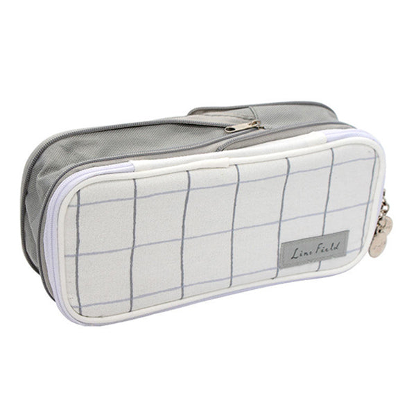 Pastel Zippered Large Foldable Pencil Case, Grey Grid