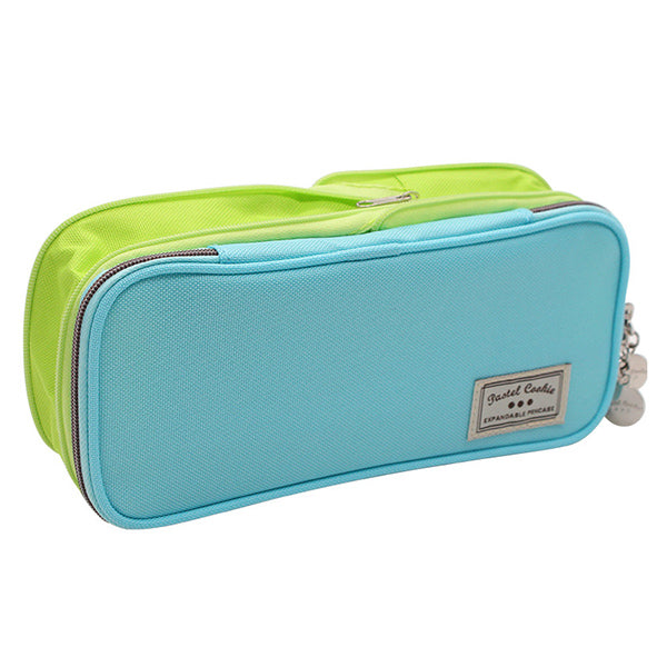 Pastel Zippered Large Foldable Pencil Case, Blue and Green