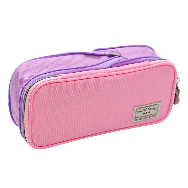 Pastel Zippered Large Foldable Pencil Case, Pink and Purple