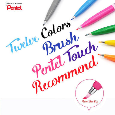 Pentel Fude Touch Brush Sign Pen Flexible Tip 1 /6 /12 Colored Set