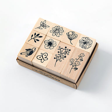 Plant and Nature Wooden Stamp Set, Flower