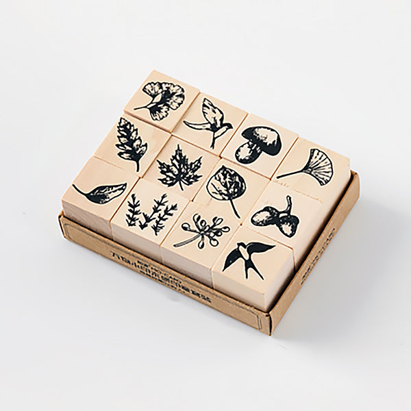 Plant and Nature Wooden Stamp Set, Forest
