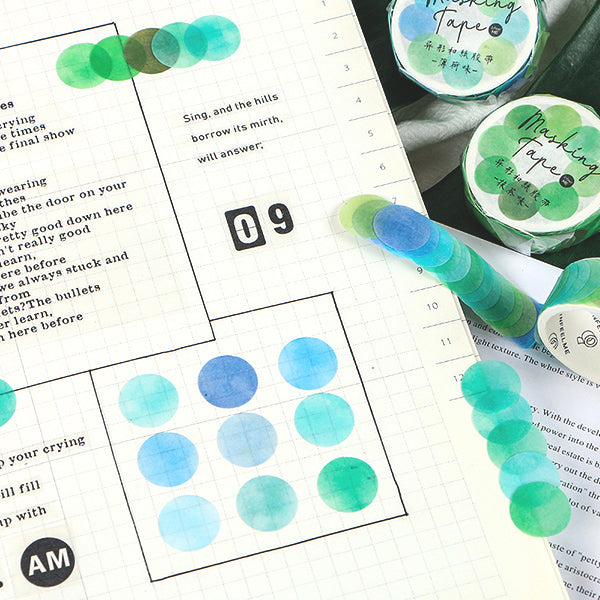 Polka Dot Watercolor Masking Tape Stickers