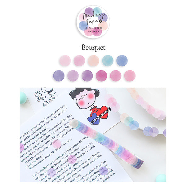 Polka Dot Watercolor Masking Tape Stickers, Bouquet