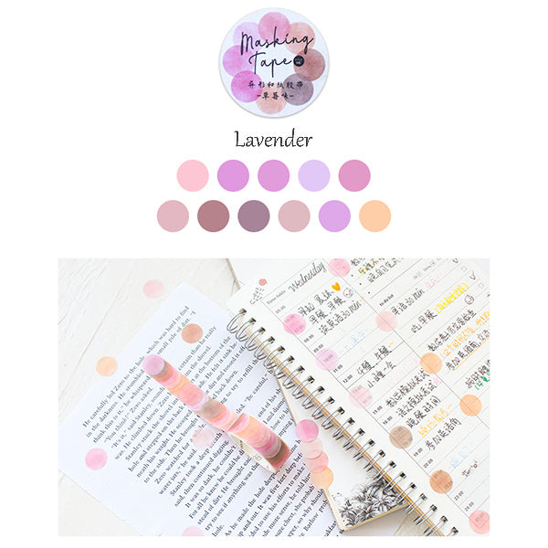 Polka Dot Watercolor Masking Tape Stickers, Lavender