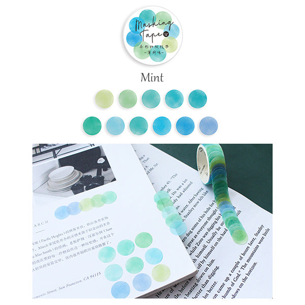 Polka Dot Watercolor Masking Tape Stickers, Mint