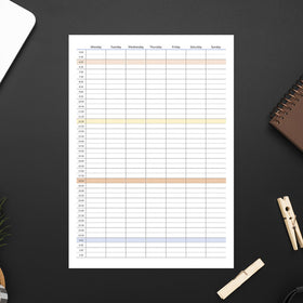 Printable Timetable, Plain, Neat for Minimalist, Portrait Instant download PDF