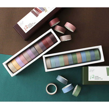 Vintage Color Gradient Washi Tape 12 Rolls Set