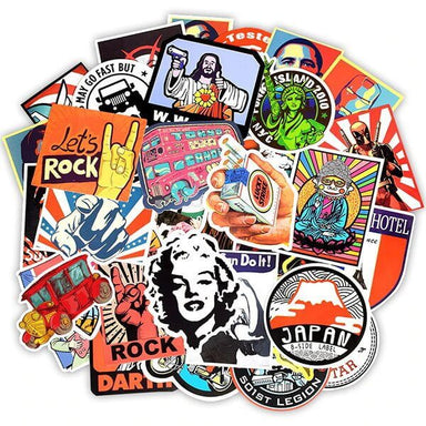 Retro Style Stickers, Set A - 50 pieces