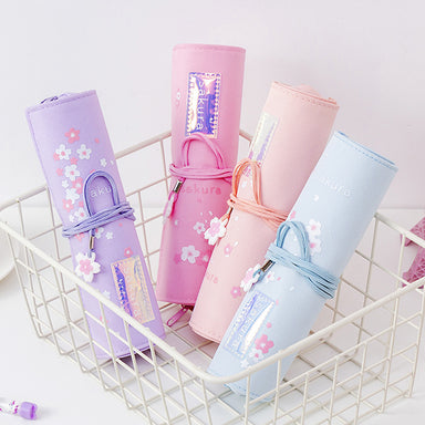 Sakura Holographic Canvas Roll Up Pencil Case