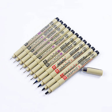 Sakura Pigma Graphic and Brush Colored Pen / Set, Any 2 Pcs from 1/2/3/BR (Leave a message at cart page)