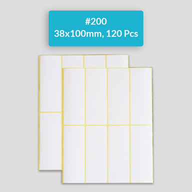 Self Adhesive Sticky White Labels 15 Sheets A5 Pack, #200,38x100mm