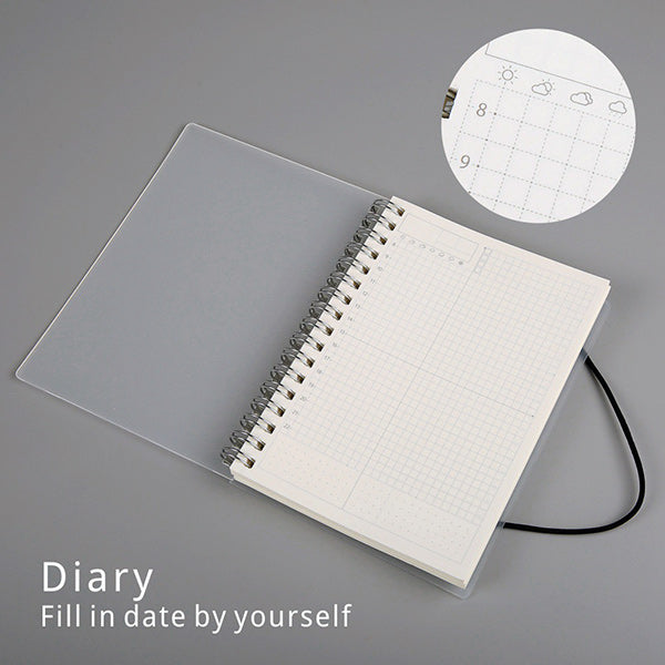 Spiral Bound Notebook Dotted Lined Grid A6/A5/B5, Diary / A5  210 x 150mm