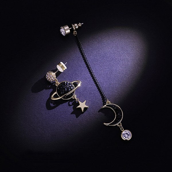 Star Planet And Crescent Moon Hanging Earrings