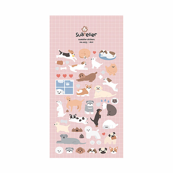 Suatelier Cartoon Dog and Cat Stickers, Dog
