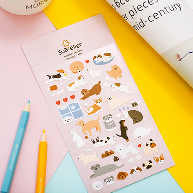 Suatelier Cartoon Dog and Cat Stickers