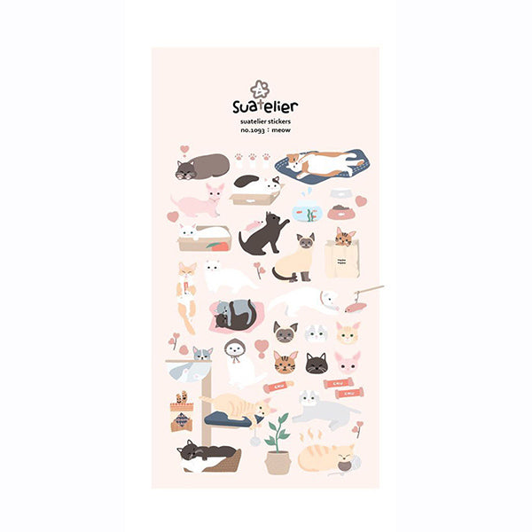 Suatelier Cartoon Dog and Cat Stickers, Cat