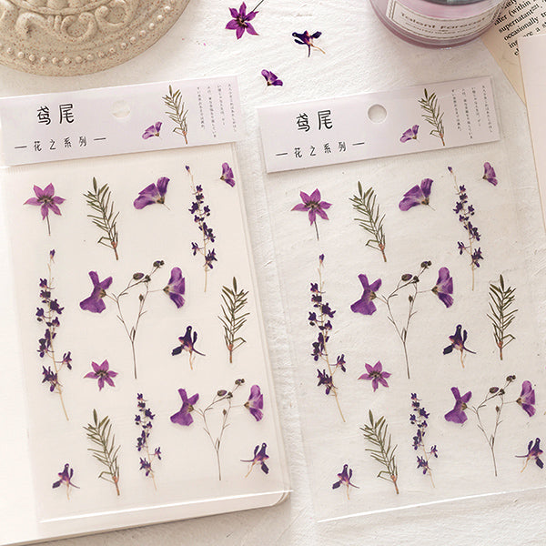Translucent Botanical Plant Flower Stickers