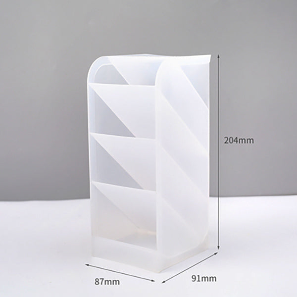 Translucent Pencil Stationery Holder Desk Organizer, Rectangle (Large) / White