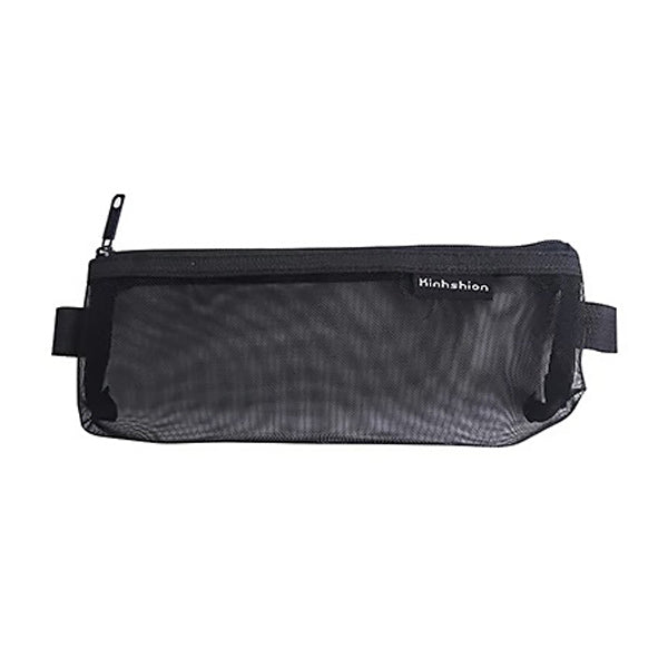 Transparent Mesh Zipper Pencil Case, Black / Small