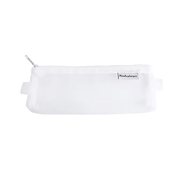 Transparent Mesh Zipper Pencil Case, White / Small