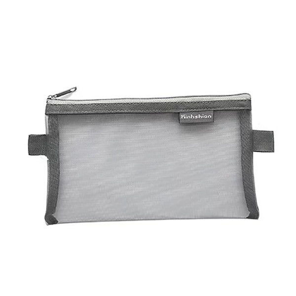 Transparent Mesh Zipper Pencil Case, Gray / Large