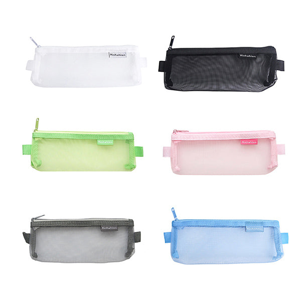 Transparent Mesh Zipper Pencil Case