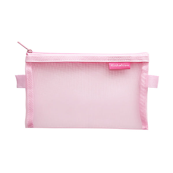 Transparent Mesh Zipper Pencil Case, Pink / Large