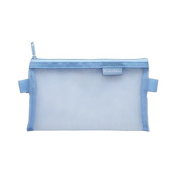 Transparent Mesh Zipper Pencil Case, Blue / Large