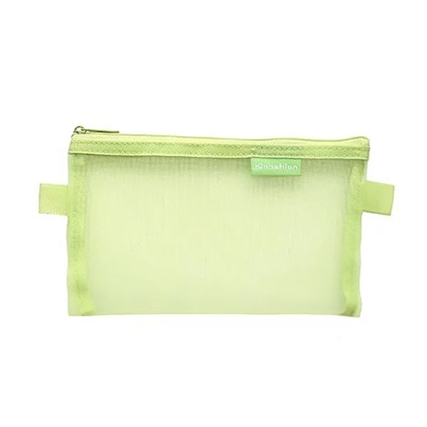 Transparent Mesh Zipper Pencil Case, Green / Large