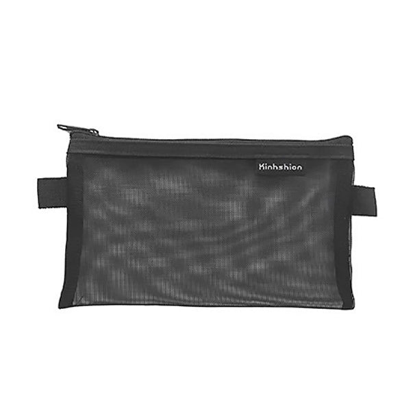 Transparent Mesh Zipper Pencil Case, Black / Large