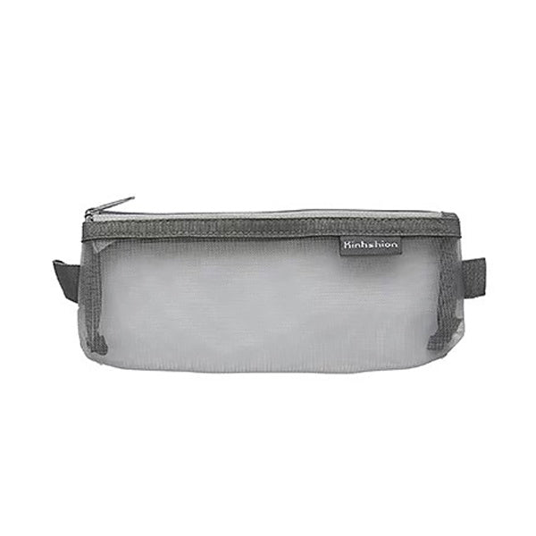 Transparent Mesh Zipper Pencil Case, Gray / Small