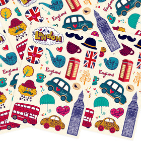 Travel Journal London Style Stickers,1 Set - 20 pieces