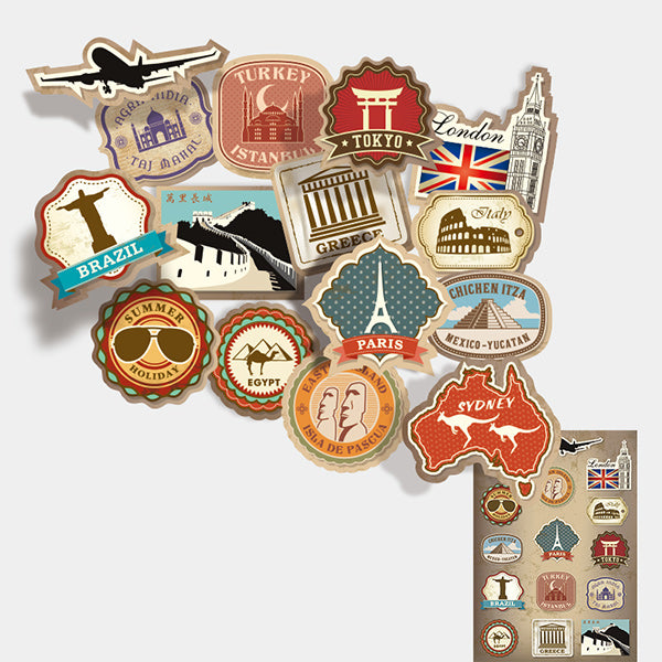 Travel Landmarks Retro Style Stickers