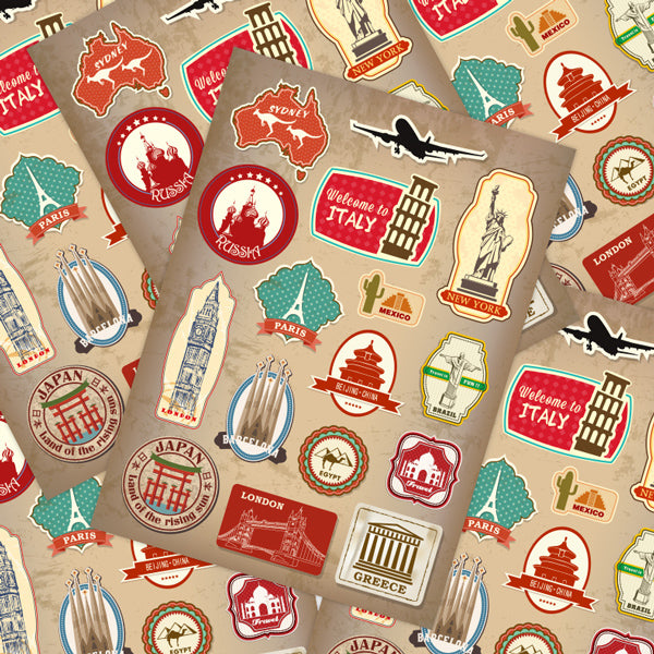 Travel Landmarks Retro Style Luggage Stickers