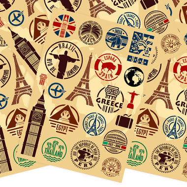 Travel Landmarks Retro Style Stickers,Set A - 20 pieces