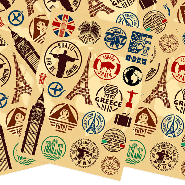 Travel Landmarks Retro Style Stickers, Set A - 20 pieces