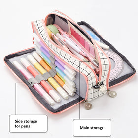 Triple Zipper Canvas Pencil Case